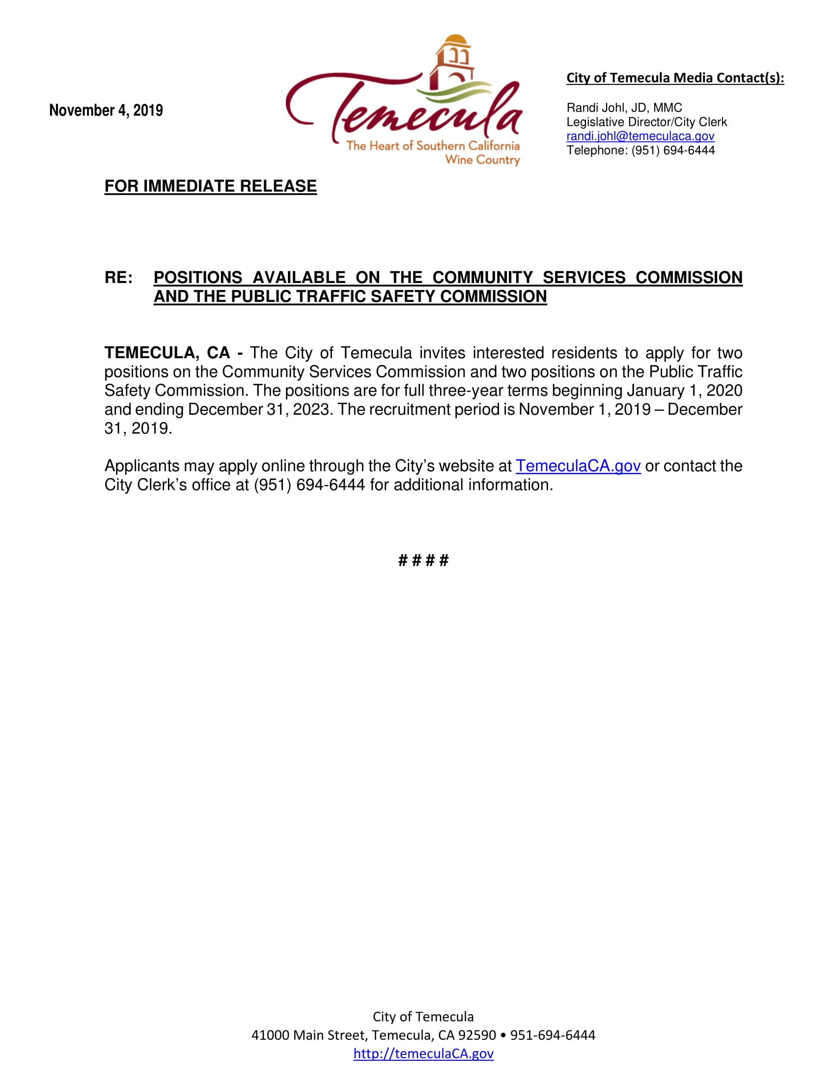 Press Release - Commission Positions Available-1
