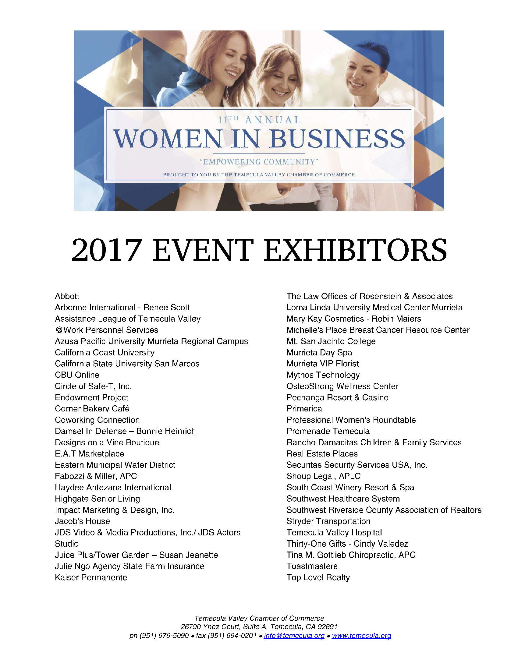List of Exhibitors WIB 2017