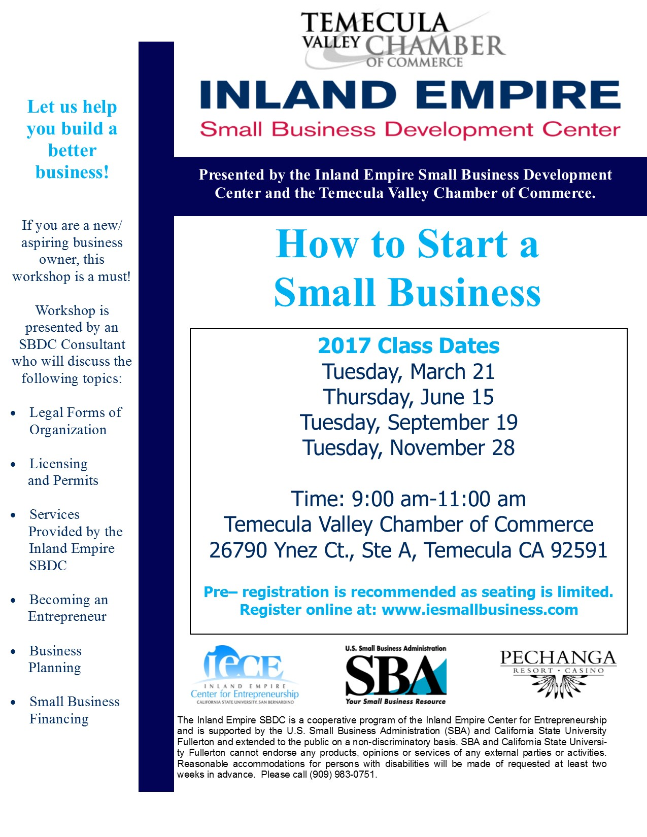 How to Start a Small Business presented by Inland Empire Small Business Development Center @ Temecula Valley Chamber of Commerce | Temecula | California | United States