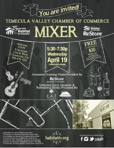 April Mixer @ Habitat for Humanity Inland Valley Restore Temecula | Temecula | California | United States