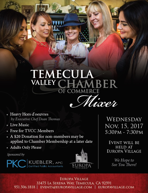 November Mixer at Europa Village  Co-Sponsored by PKC Kuebler, APC @ Europa Village | Temecula | California | United States