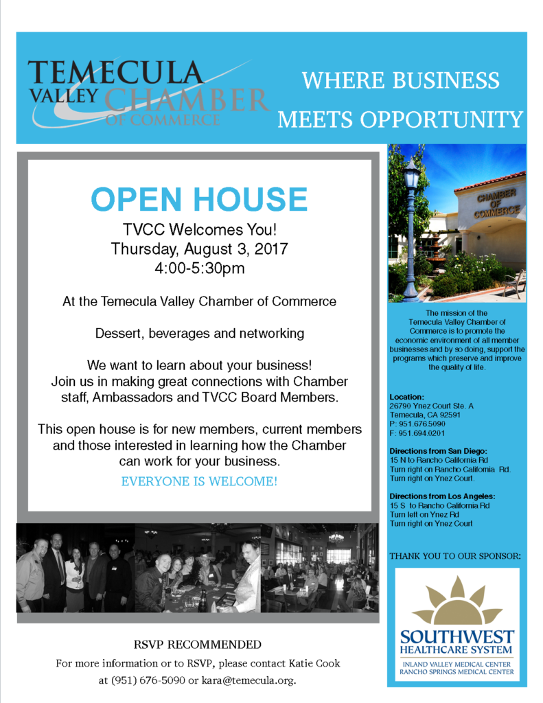Open House @ TVCC @ Temecula Valley Chamber of Commerce | Temecula | California | United States