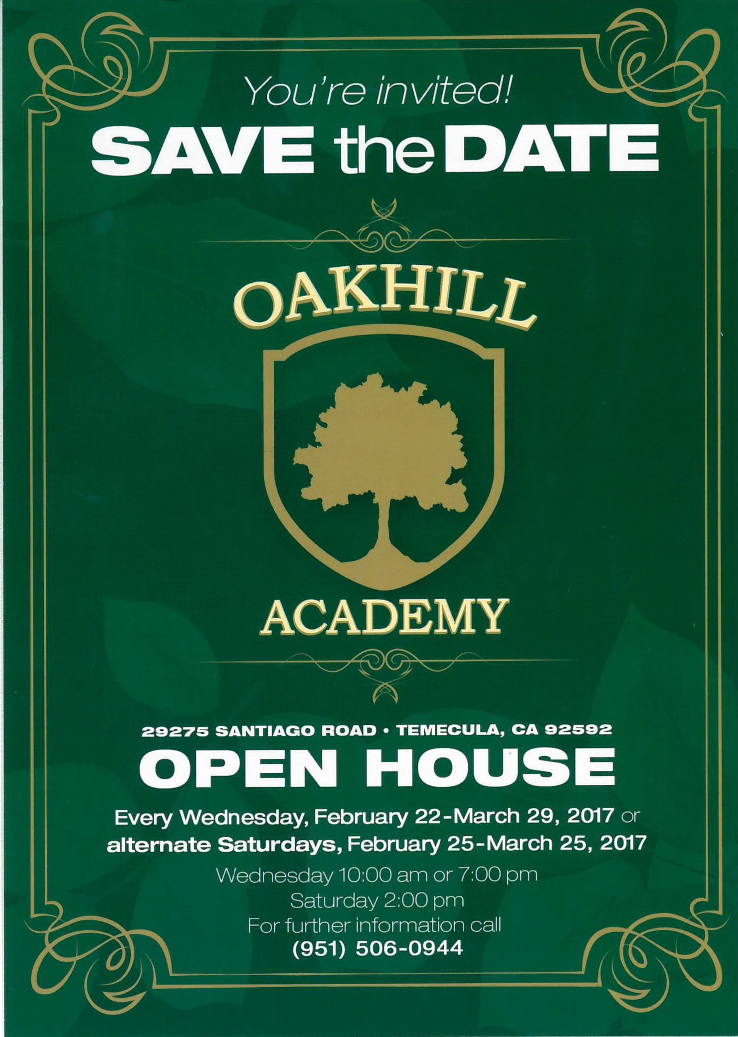 You're invited Save The Date Oakhill Academy Open House @ Oakhill Academy | Temecula | California | United States