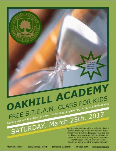 FREE! S.T.E.A.M. Class For Kids at Oakhill Academy @ Oakhill Academy | Temecula | California | United States