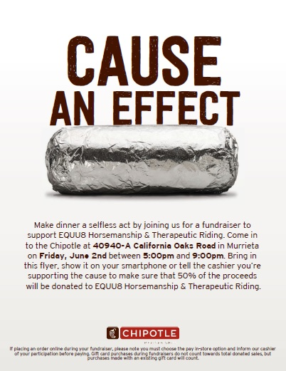 Cause An Effect fundraiser To Support EQUU8 Horsemanship & Therapeutic Riding. @ Chipotle | Murrieta | California | United States
