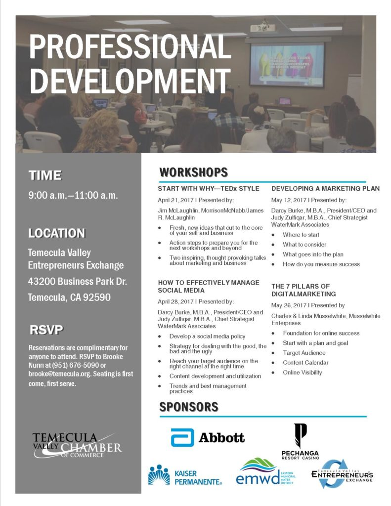 Professional Development - DEVELOPING A MARKETING PLAN @ Temecula Valley Entreprenuers Exchange | Temecula | California | United States
