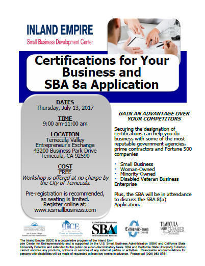 Certifications for Your Business and SBA 8a Application @ Temecula Valley Entrepreneur's Exchange | Temecula | California | United States