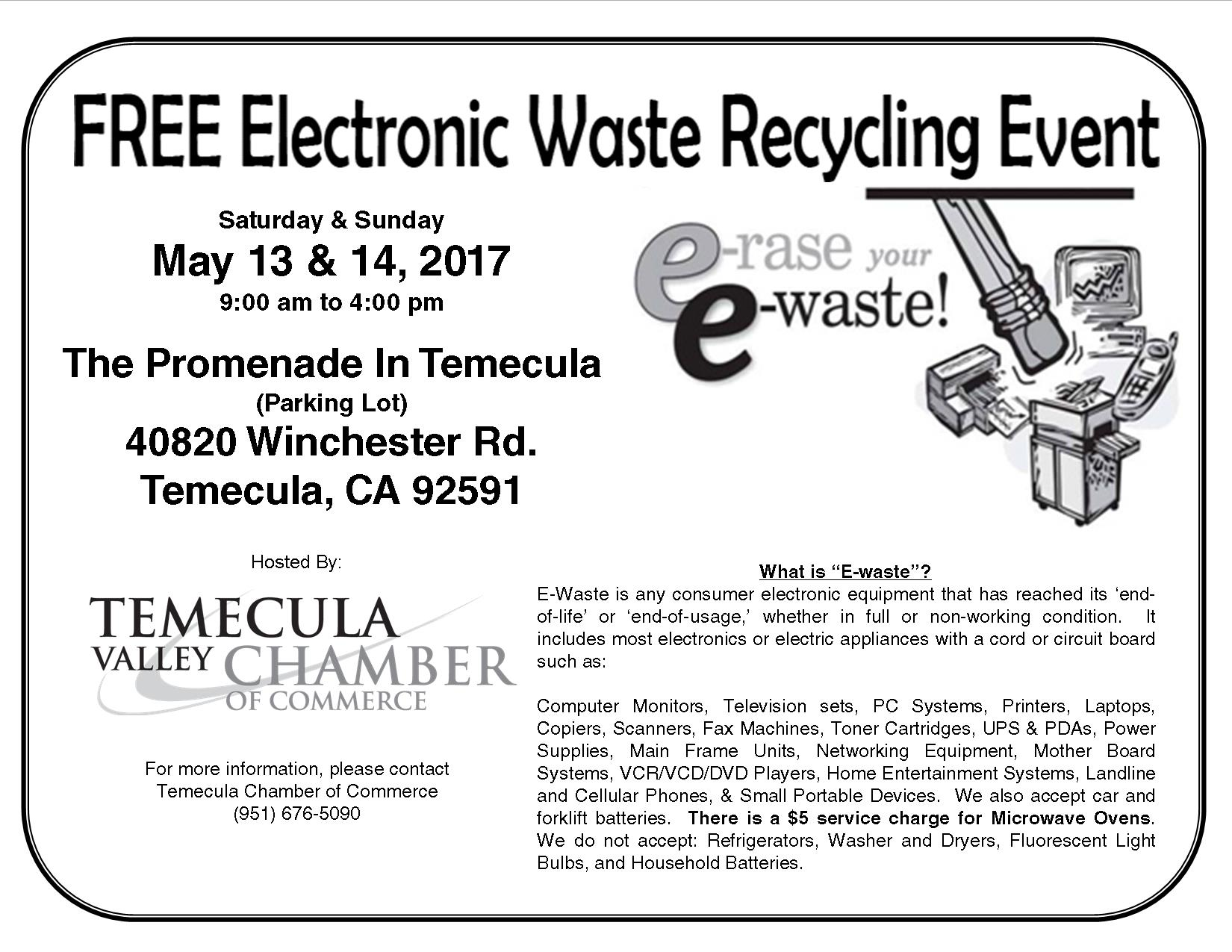 FREE Electronic Waste Recycling Event @ The Promenade Mall (Parking Lot) | Temecula | California | United States