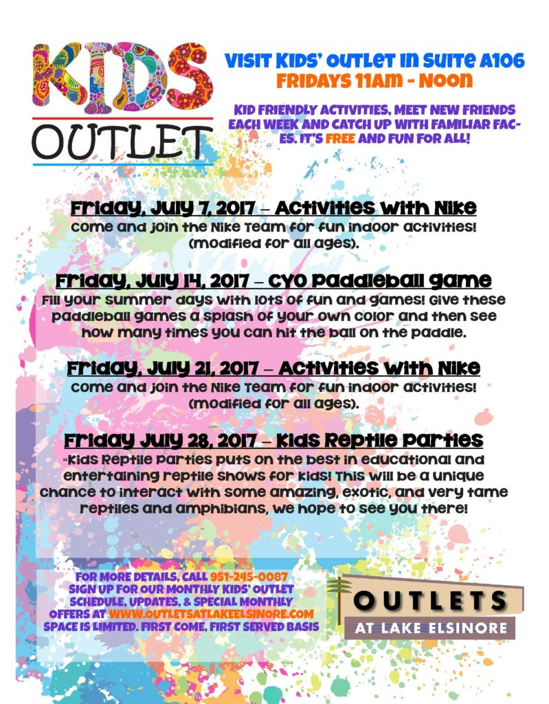 Outlets at Lake Elsinore Kids Outlet - Activities With Nike @ Outlets at Lake Elsinore | Lake Elsinore | California | United States