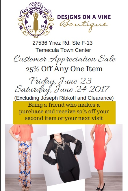 Customer Appreciation Sale @ Designs On A Vine Boutique | Temecula | California | United States