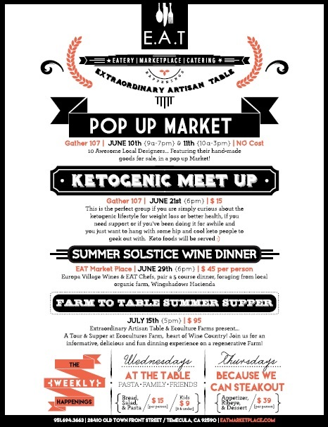E.A.T. Summer Solstice Wine Dinner @ EAT Marketplace | Temecula | California | United States