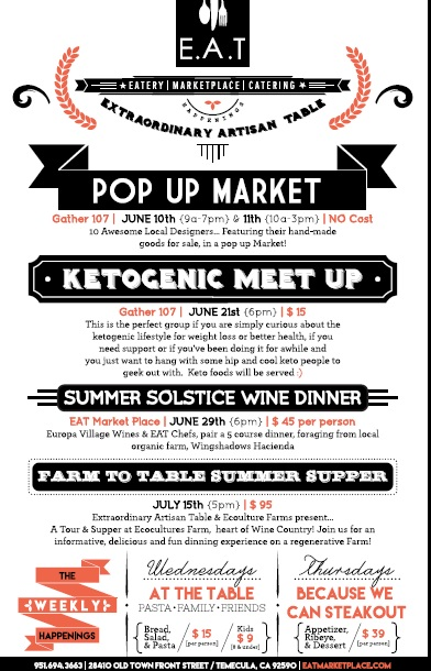 E.A.T Happenings Ketogenic Meet & Summer Solstice Wine Dinner +Farm to Table Summer Supper @ E.A.T Marketplace | Temecula | California | United States