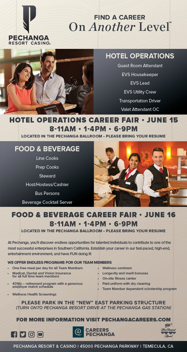 Pechanga Hotel & Casino Hotel Operations Career Fair @ Pechanga Resort & Casino | Temecula | California | United States