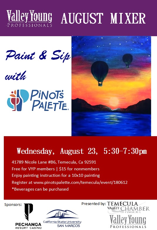 VYP August Mixer @ Pinot's Palette | Temecula | California | United States
