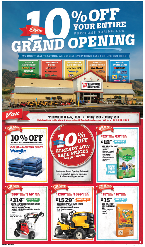 Tractor Supply Temecula Grand Opening Weekend! @ Tractor Supply Company | Temecula | California | United States