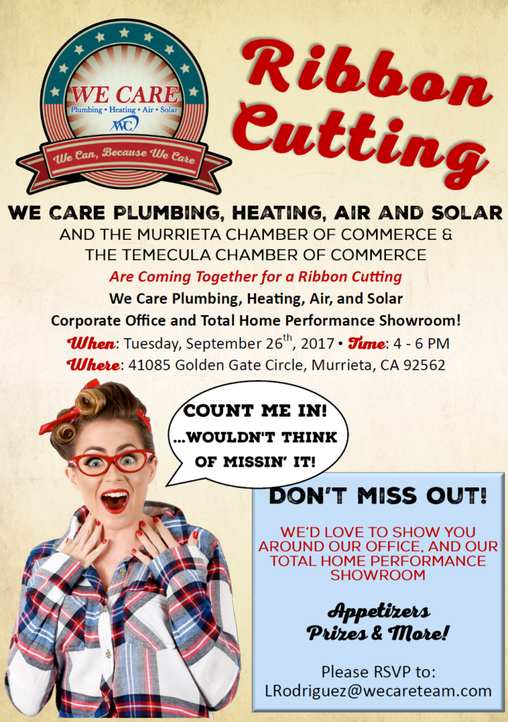 Ribbon-Cutting We Care Plumbing, Heating, Air and Solar & Grand Opening @ We Care Plumbing , Heating, Air and Solar | Murrieta | California | United States