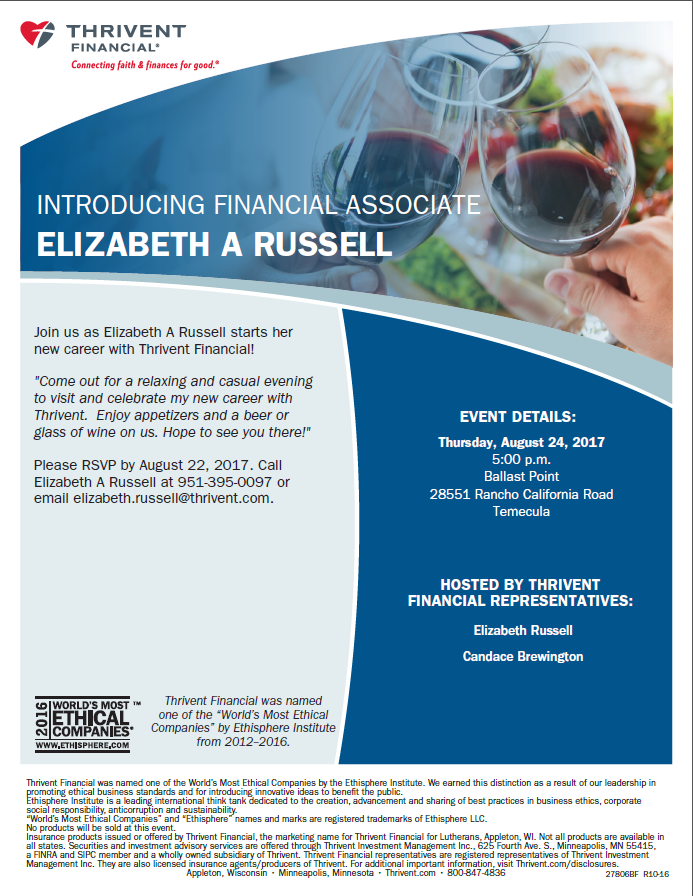 Thrivent Financial Associate Introduction @ Ballast Point   Temecula   California   United States