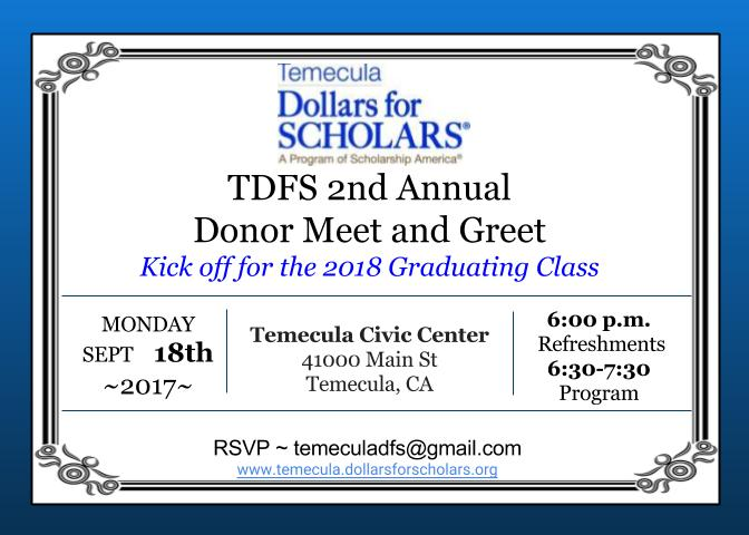 Temecula Dollars for Scholars 2nd Annual Donor Meet and Greet @ Temecula Civic Center | Temecula | California | United States