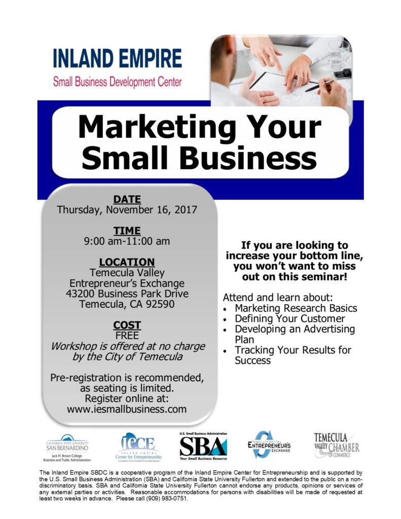 Marketing Your Small Business @ Temecula Valley Entrepreneur's Exchange | Temecula | California | United States