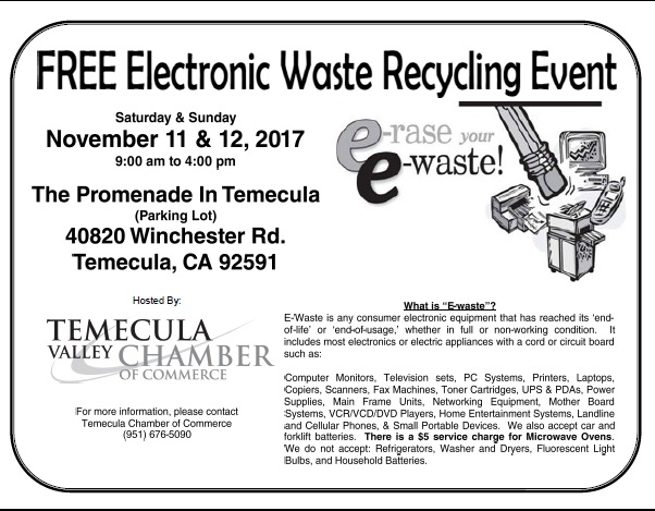 FREE Electronic Waste Recycling Event @ The Promenade In Temecula (Parking Lot) | Temecula | California | United States