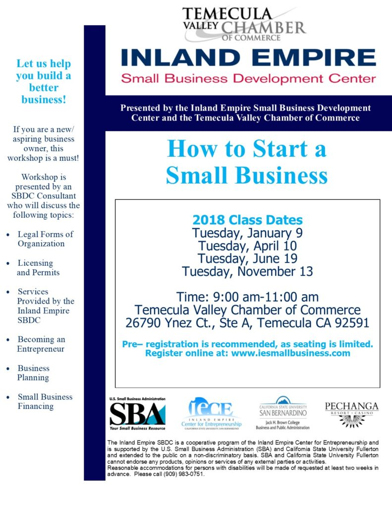 """How To Start A Small Business"" Presented By SBDC @ Temecula Valley Chamber of Commerce 