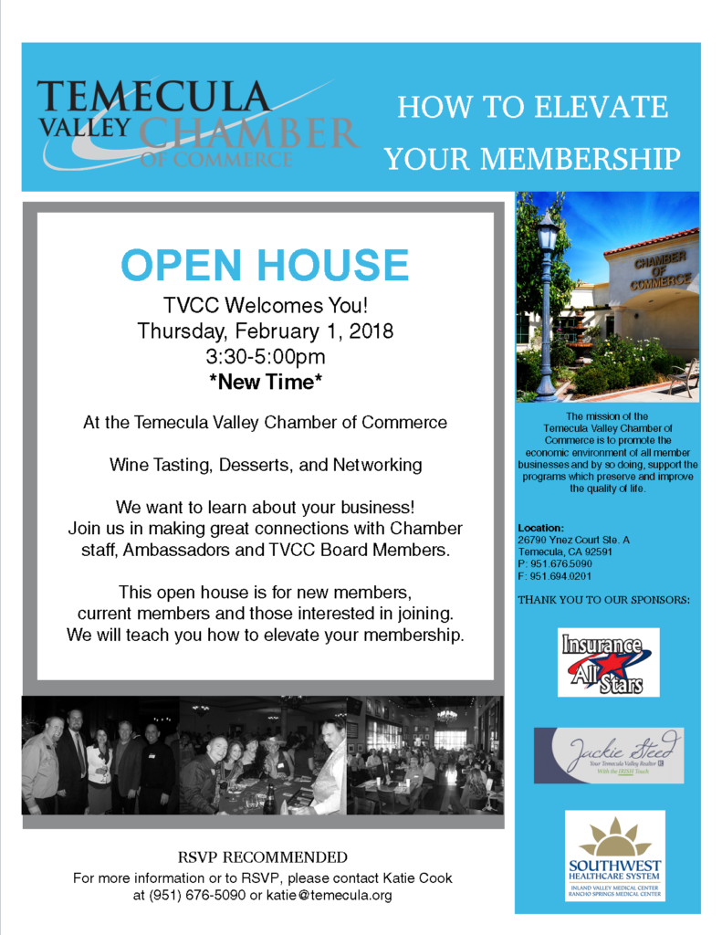 TVCC Open House @ Temecula Valley Chamber of Commerce   Temecula   California   United States