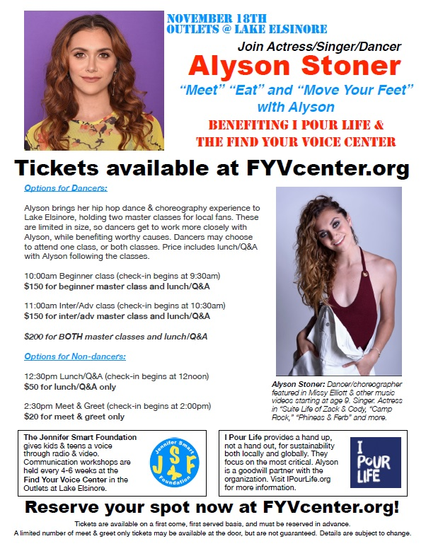 Join Actress/Singer/Dancer Alyson Stoner Benefiting 1 Pour Life & The Find Your Voice Center @ Outlets @ Lake Elsinore | Lake Elsinore | California | United States