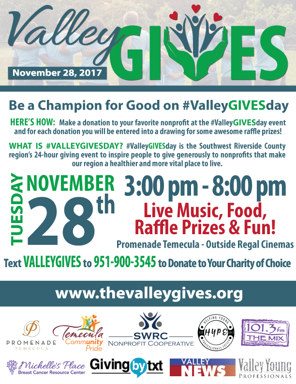 #ValleyGivesDay on GivingTuesday @ Promenade Temecula | Temecula | California | United States