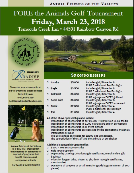 FORE the Animals Golf Tournament @ Temecula Creek Inn | Temecula | California | United States