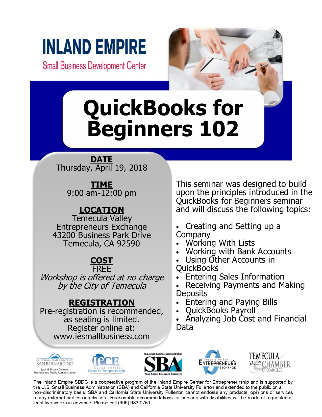 Inland Empire Small Business Development Center QuickBooks for Beginners 102 @ Temecula Valley Entrepreneurs Exchange | Temecula | California | United States