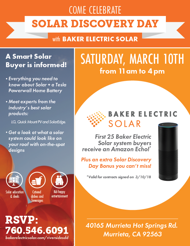 Solar Discovery Day presented by Baker Electric @ Baker Electric Solar | Murrieta | California | United States