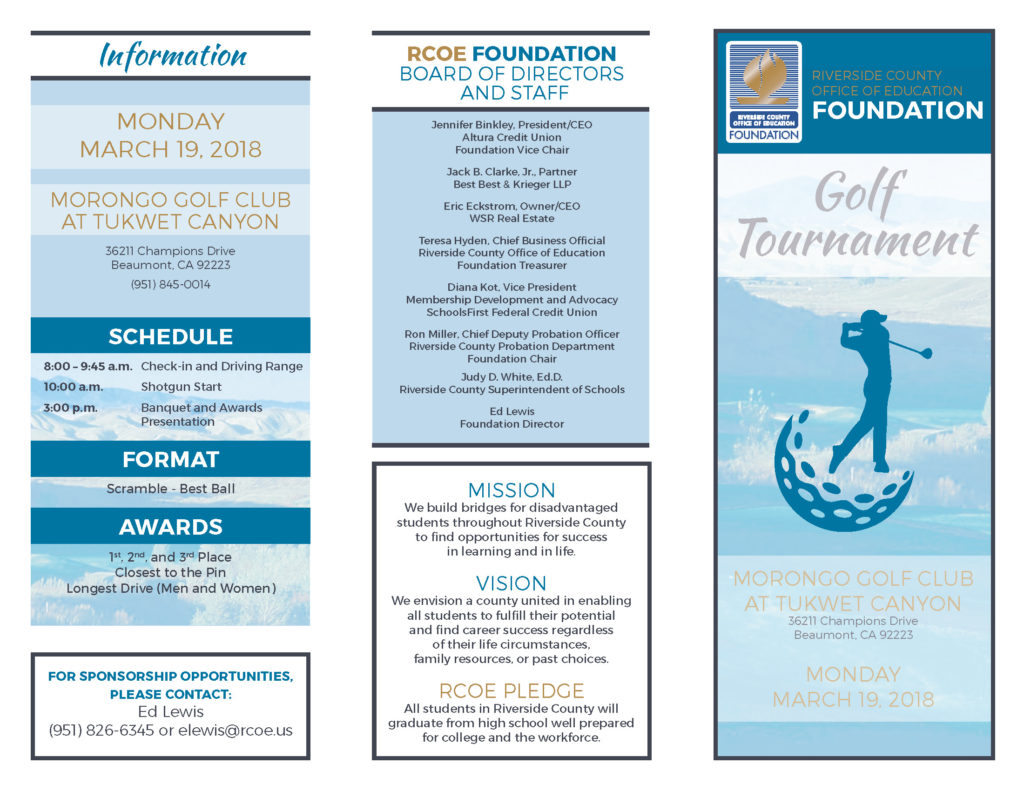 Riverside County Office of Education Foundation Golf Tournament @ Morongo Golf Club at Tukwet CAnyon | Beaumont | California | United States