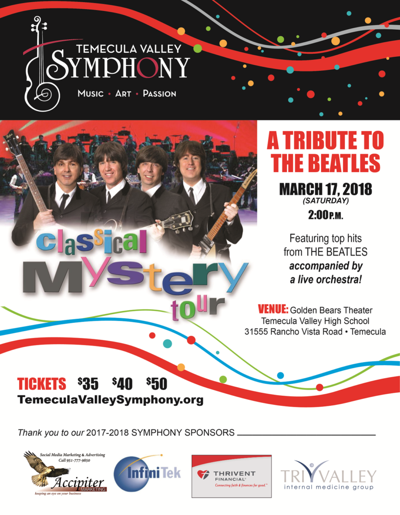Temecula Valley Symphony A Tribute to the Beatles @ Golden Bears Theater TVHS | Temecula | California | United States