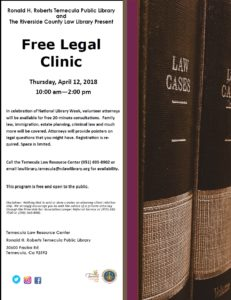 Library Free Law Class Flyer