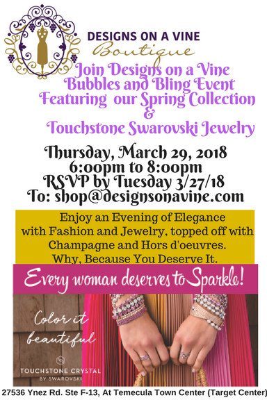 Join Designs On A Vine Boutique Bubbles and Bling Event