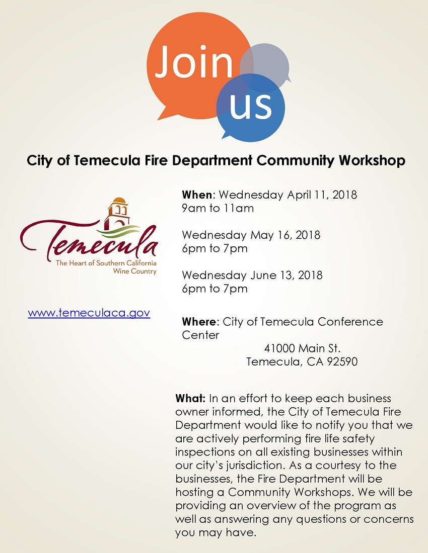 City of Temecula Fire Department Community Workshop @ City of Temecula Conference Center | Temecula | California | United States
