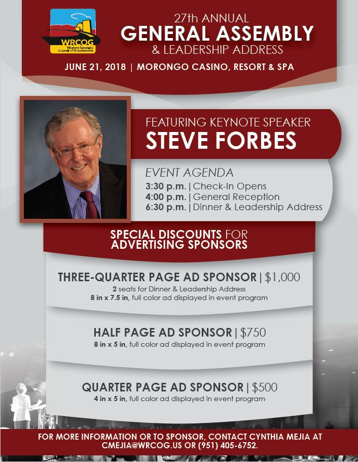 27th Annual General Assembly Featuring Keynote Speaker Steve Forbes @ Morongo Casino Resort & Spa