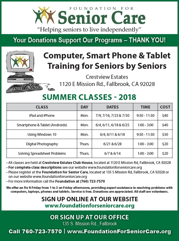 Foundation For Senior Care Computer Summer Classes Training for Seniors by Seniors @ Crestview Estates | Fallbrook | California | United States