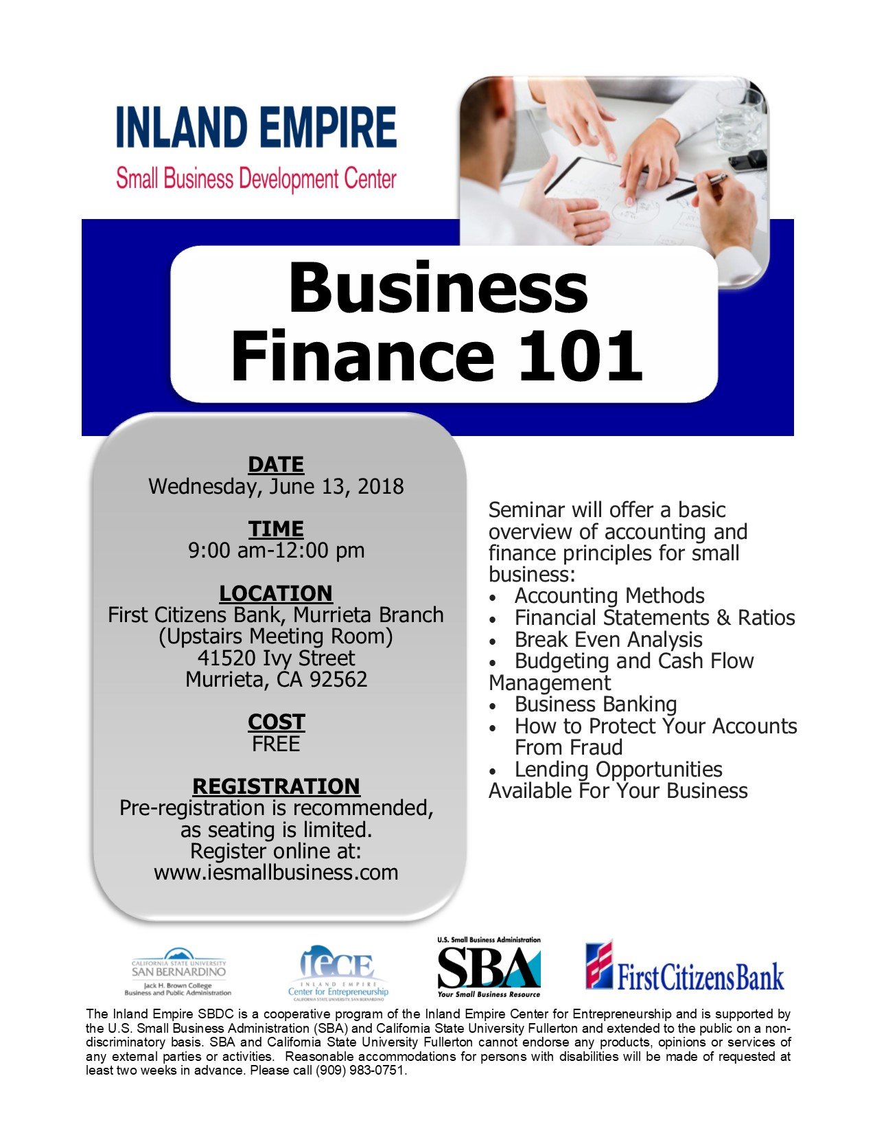 Inland Empire Small Business Development Center Business Finance 101 @ First Citizens Bank (Murrieta Branch) | Murrieta | California | United States