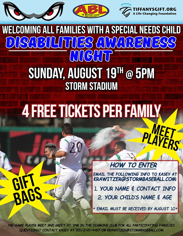 Welcoming All Families with A Special Needs Child Disabilities Awareness Night at the Storm Stadium @ Storm Stadium | Lake Elsinore | California | United States