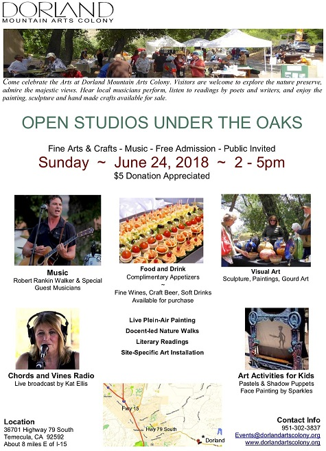 Dorland Mountain Arts Colony Open Studios Under The Oaks @ Dorland Mountain Arts Colony | Temecula | California | United States
