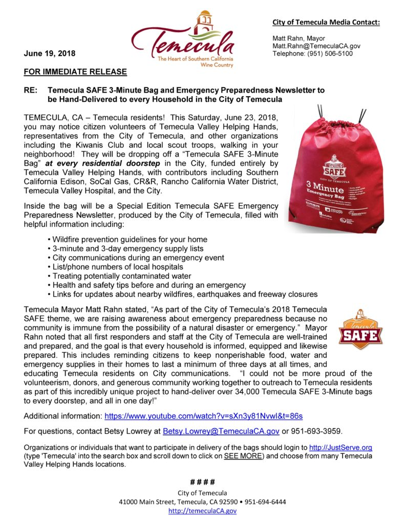 Temecula SAFE 3-Minute Bag and Emergency Preparedness Newsletter to be Hand-Delivered to every Household in the City of Temecula