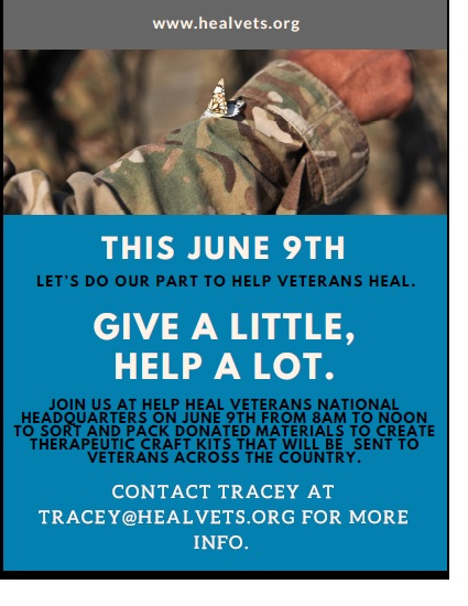 This June 9th Let's Do Our Part To Help Veterans Heal. Give A Little, Help A Lot.