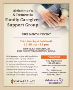 Alzheimer's Association- Family Caregiver Support Group @ Vineyard Place | Murrieta | California | United States
