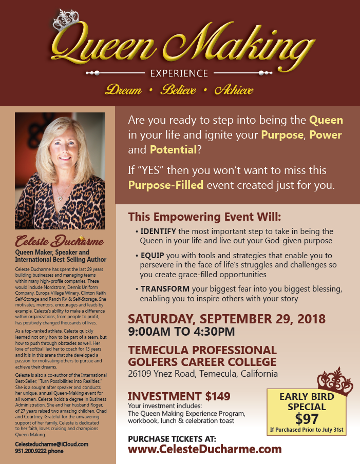 Queen Making Experience @ Temecula Professional Golfers Career College | Temecula | California | United States