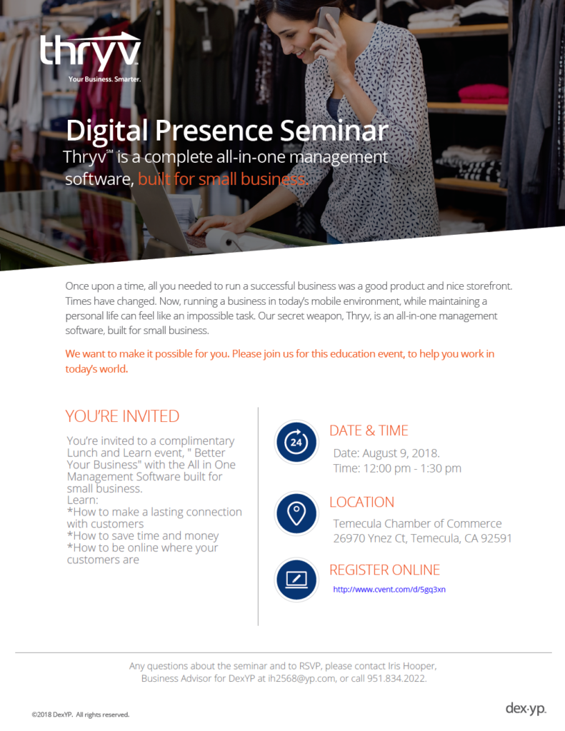 thryv Digital Presence Seminar @ Temecula Chamber of Commerce | Temecula | California | United States