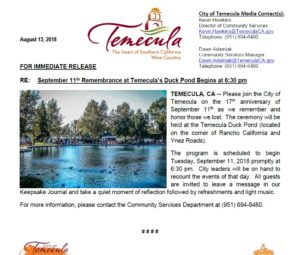 September 11th Remembrance at Temecula's Duck Pond @ Temecula Duck Pond | Temecula | California | United States