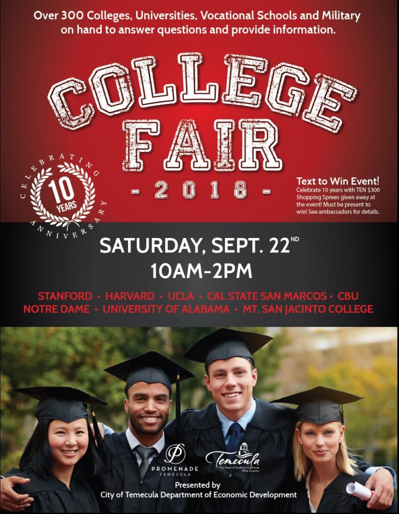 College Fair 2018 Presented by City of Temecula Department of Economic Development @ Promenade Mall | Temecula | California | United States