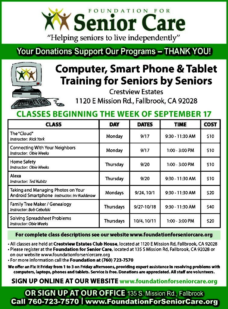 Computer, Smart Phone & Tablet Training for Seniors by Seniors