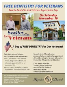 Vet Appreciation Day - Free Dentistry To Veterans @ Rancho Dental. | Temecula | California | United States